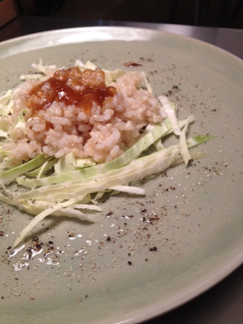 Risotto autunnale con hakusai (cavolo bianco giapponese) e marmellata di marroni