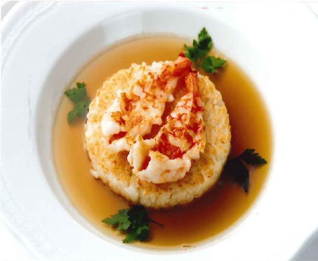 Risotto saltato con gamberi ad ali di angelo in brodo  天使の海老の焼きリゾット スープ仕立て