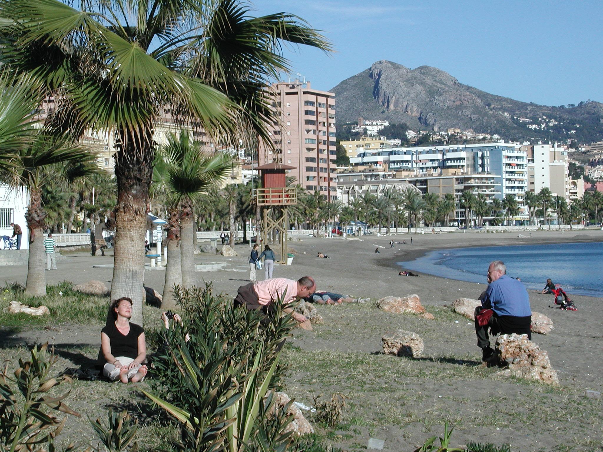 スペイン、マラガの海辺で