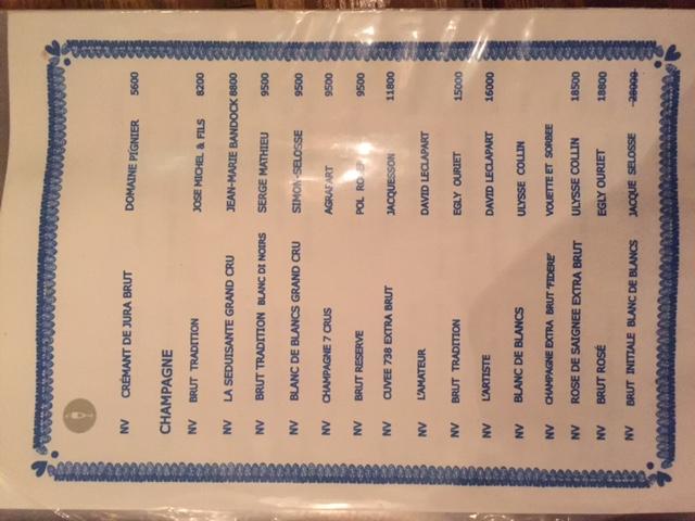 sala degustazione menu wine